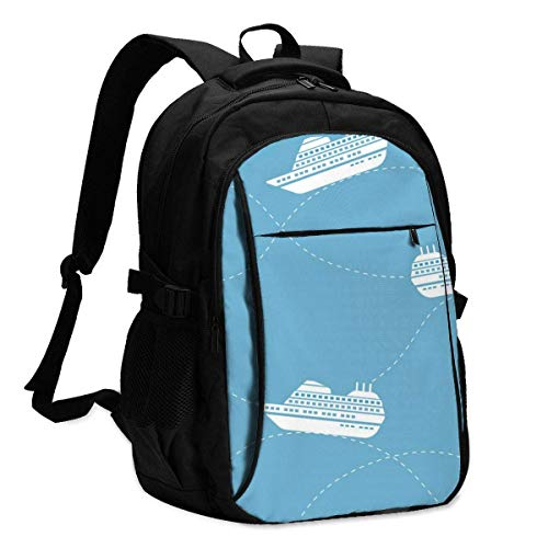 asfg Nautical Pattern with Ships Multifunctional Personalized Customized USB Backpack, Student School Outdoor Backpack,Travel Bag Laptop Bookbags Business Daypack.