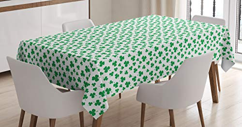 Lunarable Shamrock Tablecloth, St Patrick's Day Pattern Lucky Irish Clover Traditional Holiday Design, Rectangular Table Cover for Dining Room Kitchen Decor, 52' X 70', White Green