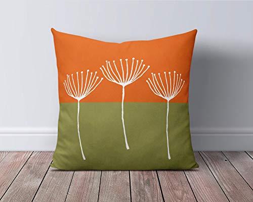 Funda de almohada de color naranja y verde quemado, funda de cojín verde oliva, funda de cojín moderna para sofá