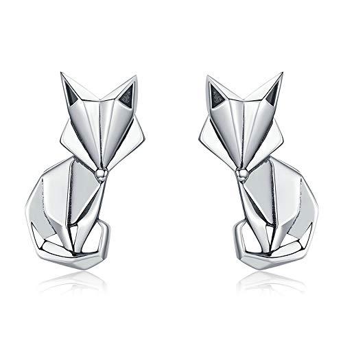 Zilveren Fox Hot Sale Echte 925 Sterling Zilver Mode Vouwen Vos Dier Stud Oorbellen voor Vrouwen Sterling zilveren sieraden