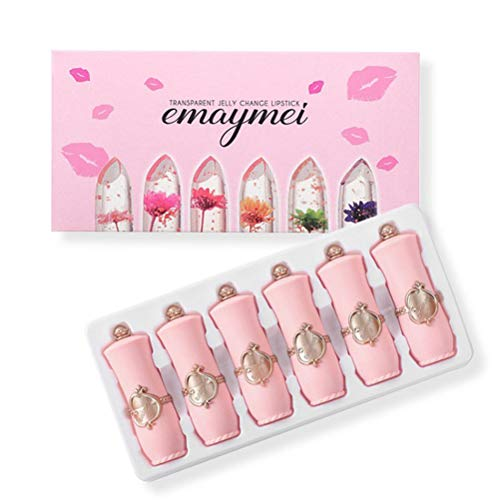 Lápiz labial de cristal, juego de pintalabios de jalea de flores claras, de larga duración, hidratante, cambio de color, bálsamos labiales para mujer y niña, 6 unidades