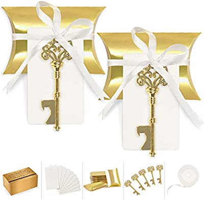 Wedding Favors for Guests Party Favor Vintage Skeleton Key Bottle Opener with Escort Card Tag Pillow Candy Box and Satin Ribbon 50 Pcs (Gold)