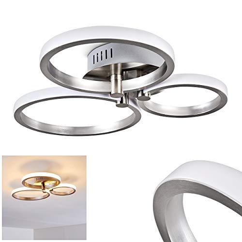 LED Deckenleuchte Volonne, Deckenlampe aus Aluminium in Silber mit drei runden Lichtleisten, 18 Watt (insgesamt), 1100 Lumen insgesamt, Lichtfarbe 3000 Kelvin (warmweiß)