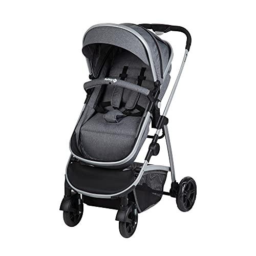 Safety 1st Kinderwagen Hello 2-in-1, zusammenfaltbarer Buggy mit wandelbarem Sitzeinhang zu Babywanne, inkl. Regenverdeck und Maxi-Cosi Adapter, nutzbar ab der Geburt bis max. 15 kg, Black Chic