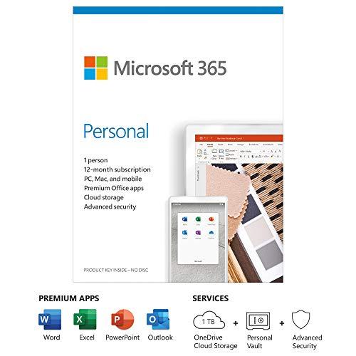 Microsoft 365 Personal | Office 365 Apps | 1 Benutzer | 1 Jahr Abonnement | PC/Mac, Tablet und Telefon | Mehrsprachig | Box