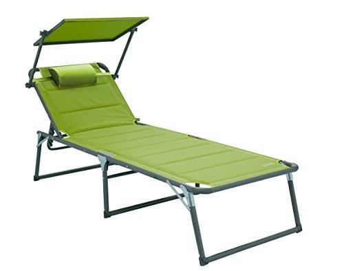 Meerweh Aluminium Gartenliege XXL mit Dach, Dreibeinliege gepolstert mit Quick Dry Foam, grün, 200 x 70 x 37.5 cm, 74056