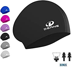 Womens Silicone Swim Cap for Long Hair,3D Ergonomic Design Silicone Swimming Caps for Women Kids Men Adults Boys Girls with Ear Plug and Nose Clip (Black)
