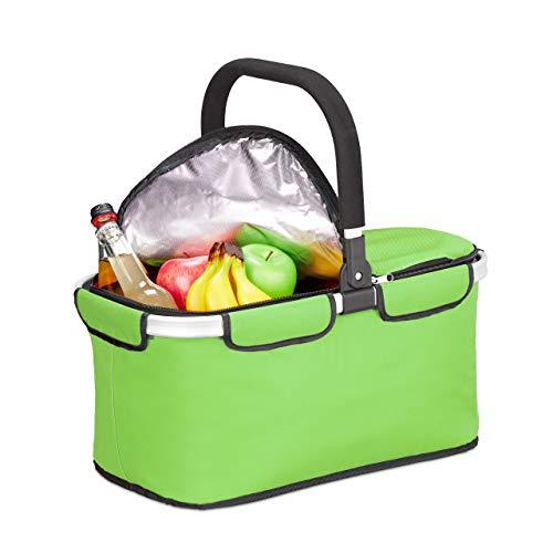 Relaxdays Einkaufskorb faltbar, mit Kühlfunktion, Thermokorb mit Henkel, 25 l, Deckel mit Reißverschluss, Korb, hellgrün