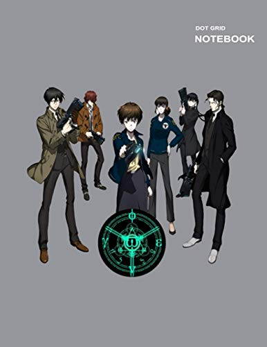 Dot Grid Graph sketchbook: Dotted Pages, 110+ Pages, Large (8.5 x 11 inches), Psycho-Pass Movie Notebook Cover.