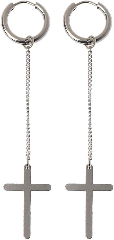 Earrings, MingSheng Long Chain Earrings Korean Titanium Steel Cross Drop Dangle Earrings Jewelry Earrings for Men Earrings for Women