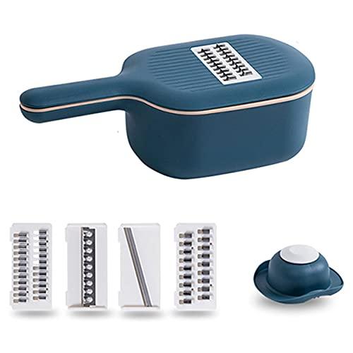 N / B Trituradora multifuncional de frutas de mandolina 4 en 1 con cesta de drenaje, máquina de corte de alimentos portátil con 4 tipos de trituración, para zanahorias de cebolla