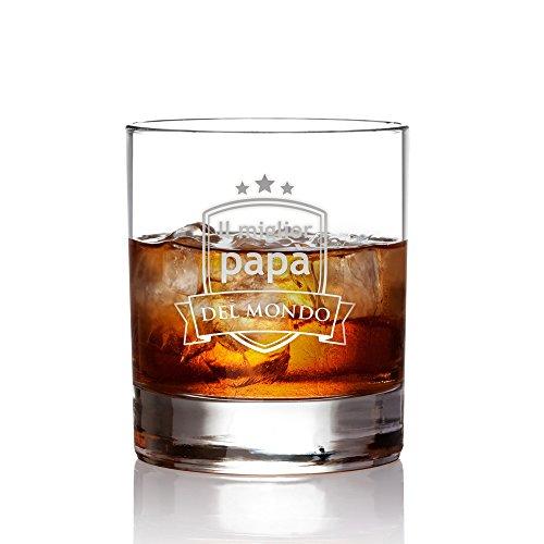 AMAVEL Bicchiere con Incisione - Il Miglior papà del Mondo - Blasone - Tumbler Basso - Bicchieri Whisky in Vetro - Idee Regalo per Lui - Regali Festa del papà - capacità: 320 ml