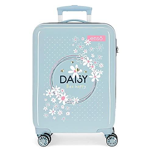 Enso Daisy Maleta de Cabina Azul 38x55x20 cms Rígida ABS Cierre de combinación Lateral 34 2 kgs 4 Ruedas Dobles Equipaje de Mano
