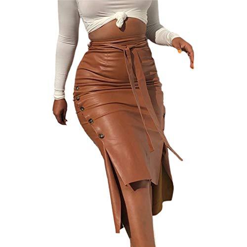 I3CKIZCE Midifalda de mujer de piel sintética con cordón, falda media de cintura alta, ajustada, informal, sexy y elegante marrón M