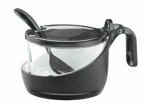 Guzzini Vintage Two-Tone Parmesan/Sugar Bowl with Teaspoon, 6-3/4-Fluid Ounces, Grey