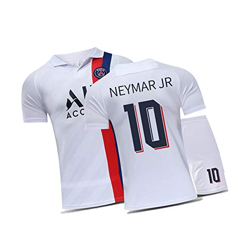 WYUN Neymar JR 10# Soccer Jersey Set, Soccer for Men Child and Youth, 2Piece -Training Sport Tops and Shorts Set, Great Material (22-XXL)-White-26