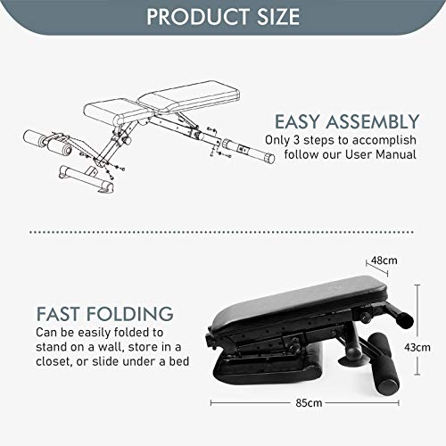 RitFit Adjustable Weight Bench, Folding Workout Bench for Home Gym, Incline Decline Bench for Full Body Workout (Pure Black)