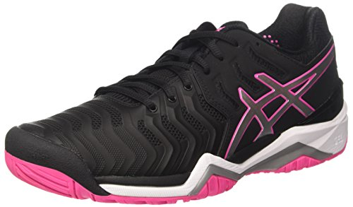 Asics Gel-Resolution 7, Zapatillas de Tenis Mujer, Negro (Black/Silver/Hot Pink 9093), 44.5 EU