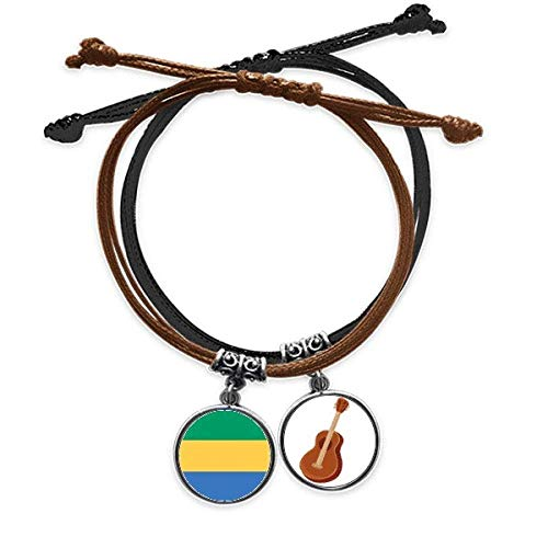 DIYthinker Bandera Nacional del país Africano Gabón Pulsera Cuerda Mano Cadena Cuero Guitarra Pulsera