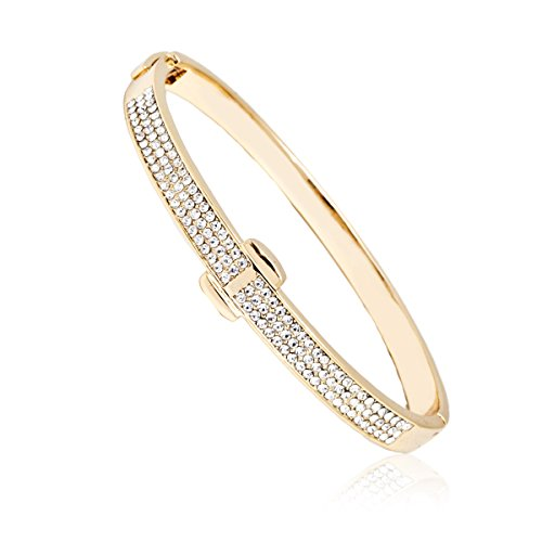 Bazel Gold Plated or White Gold Plated Crystal Belt Bangle (Gold)
