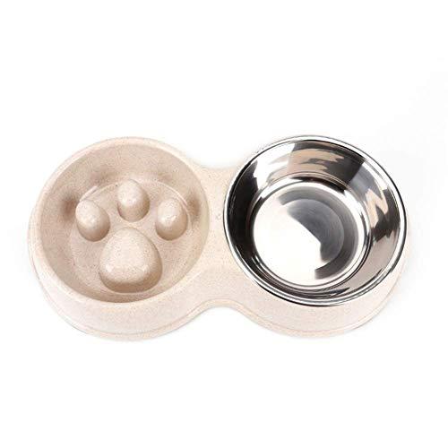 Tineer Cuenco Lento del alimentador del Perro casero Doble  alimento del Perrito de la Anti-obstrucción del Acero Inoxidable y alimentador del Agua para los Gatos del Perro (Blanco)