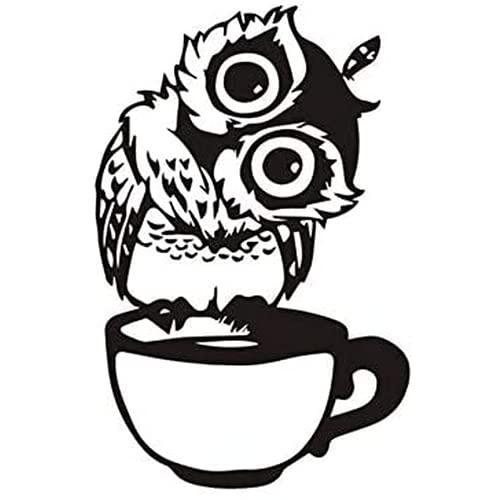 Hokorini Pegatinas de Pared. Lindo búho de Dibujos Animados en una Taza de café. Restaurante de la Etiqueta engomada de la Pared. Cocinar, Restaurante Cocina Dormitorio Vinyl Pasta