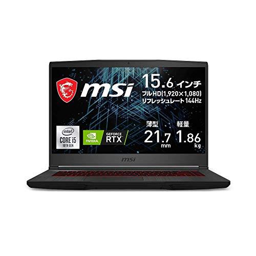 【NVIDIA最新RTX3060搭載・薄型軽量】MSIゲーミングノートPC GF65 1.86Kg i5 RTX3060/15.6FHD/144Hz/8GB/512GB/GF65-10UE-256JP