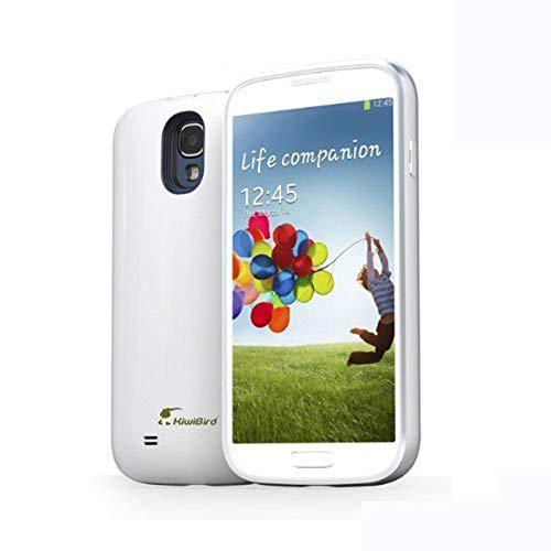 KiwiBird - Carcasa con batería externa recargable para Samsung Galaxy S4 GT-i9500, i9505 y i9506 (capacidad total 5200 mAh), color blanco
