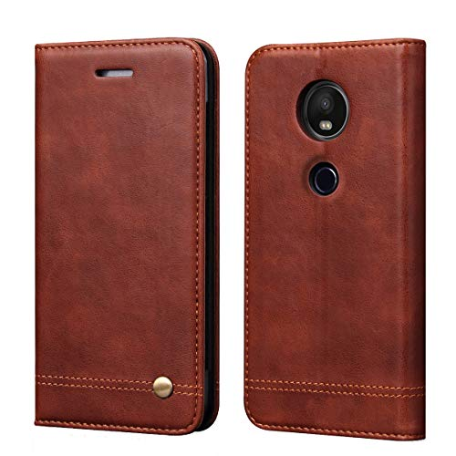 Moto G7 Phone Case,Moto G7 Plus Case,RUIHUI Classic Leather Wallet Folding Flip Protective Case Cover with Card Slots,Kickstand and Magnetic Closure for Motorola Moto G7/G7 Plus 6.2'' (Dark Brown)