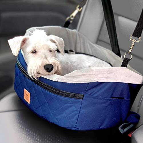 Capti Small Dog Car Seat - Includes a Soft Small Doggie Flannel Blanket, Easily Attaches to a Seatbelt, Quality Fabrics, Collapsible, Cleans Easily, 16 x 13 x 9 in, Dog Booster Car Seat Up to 15 lbs