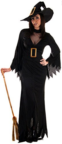 Witch kostuum dames lang zwart Halloween Witch Fancy Dress kostuum UK 10 12 14