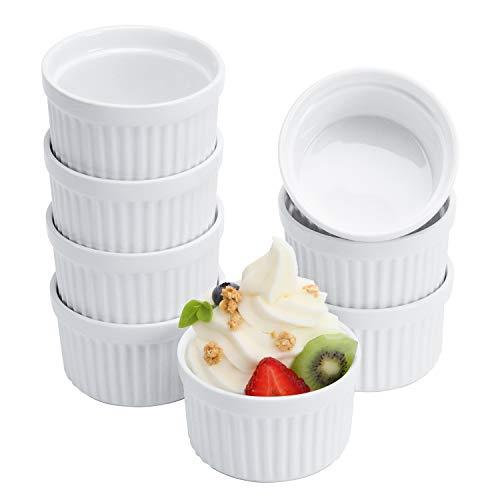 Porcelain Ramekins,Set of 8 (4OZ White), Souffle Dishes, Oven Safe Ramekin Bowls Serving For Creme Brulee, Custard, Pudding, Mini Desserts, Jam, Dips, Sauces, Ramekins For Baking