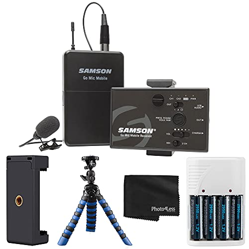 Samson Go Mic Mobile Digital Wireless System with LM8 Lavalier and Belt Pack Transmitter + Mountable Phone Clamp + Rubberized Spider Tripod + 4 AA Batteries and Charger + Cleaning Cloth