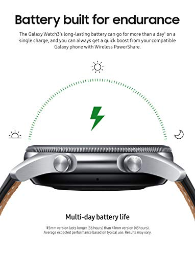 SAMSUNG Galaxy Watch 3 (41mm, GPS, Bluetooth, Unlocked LTE) Smart Watch with Advanced Health Monitoring, Fitness Tracking, and Long lasting Battery - Mystic Silver (US Version)