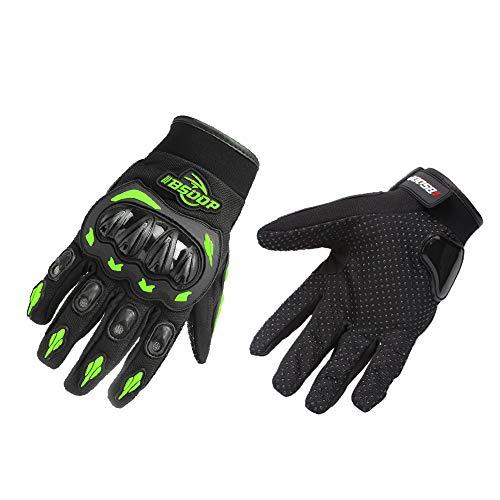 KKmoon Herren Motorrad Handschuhe Touchscreen Vollfinger Motorradhandschuhe Racing Motocross Mountain Atmungsaktiv Grün L