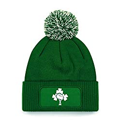 Ireland Rugby Bobble Beanie Hat Green 100% soft touch acrylic Cuffed design.