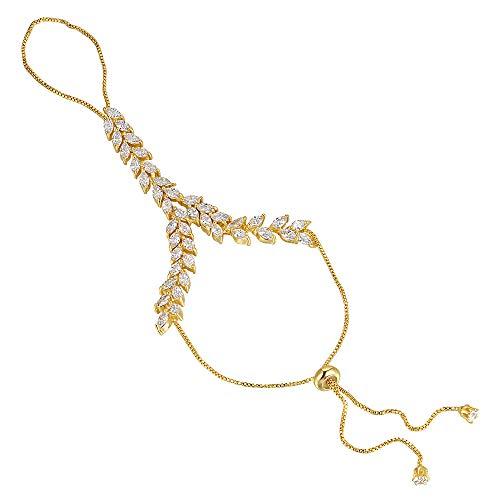 mytysun Gold und Silber Mode Slave Armband mit Ring Manschette CZ Zirkonia Hand Kette Schmuck Armband mit Verlängerung Armkette Schmuck Armband Damen Armkettchen
