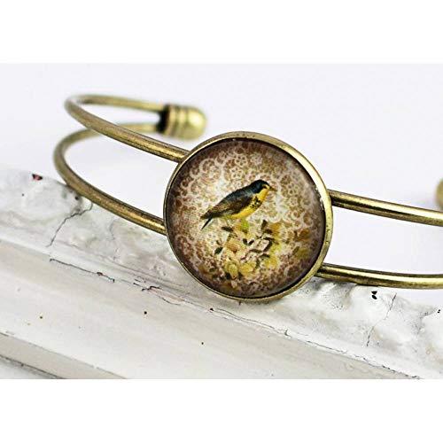 Armreif, Vogel, nostalgisch, vintage, antik bronze, Glas
