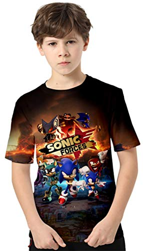 Silver Basic Camiseta Deportiva para Niños con Sonic The Hedgehog Gráfico de Dibujos Animados Impreso en 3D Top de Verano Sonic The Hedgehog Ropa para Niños y Niñas 130,434Sonic Forces-3