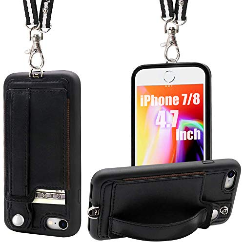 TOOVREN iPhone SE2 Case iPhone 7/8 Wallet Case Lanyard Neck Strap iPhone 7/8/SE Protective Case with Kickstand Leather PU Card Holder Adjustable Detachable Necklace for Anti-Lost and Outdoors Black