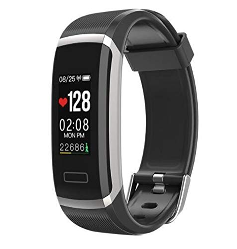 YNLRY Smart Watch GT101 Monitor De Ritmo Cardíaco Impermeable Fitness Band Women Men Llame Reminder SmartWatch para iOS Android (Color : Silver Black)