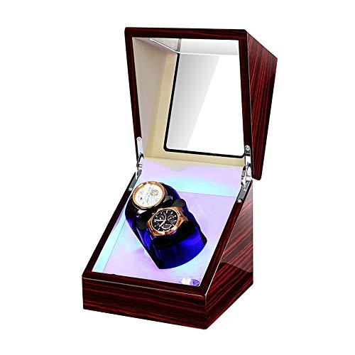 AYYEBO Caja Enrolladores Reloj Doble para Relojes Automáticos Almohada Reloj Suave Y Flexible Iluminación LED Incorporada Motor Silencioso (Color : Red+White)