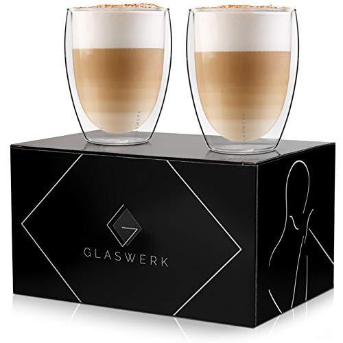 GLASWERK Design Latte Macchiato Gläser (2 x 330ml) - doppelwandige Gläser aus Borosilikatglas - spülmaschinenfeste Teegläser - hochwertige Thermogläser