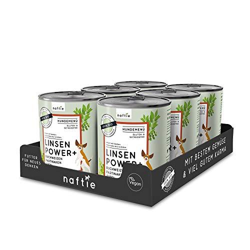 naftie veganes Hundefutter Bio Linsen Power+ | Purinarmes Nassfutter Menü mit Linsen, Buchweizen, Pastinaken & Äpfel | rein pflanzliche Zutaten | glutenfrei | getreidefrei | Sparpaket 6X 800g Dosen
