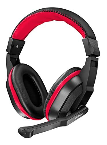 Trust Auriculares para juegos Ziva Over-Ear con micrófono retráctil, negro / rojo
