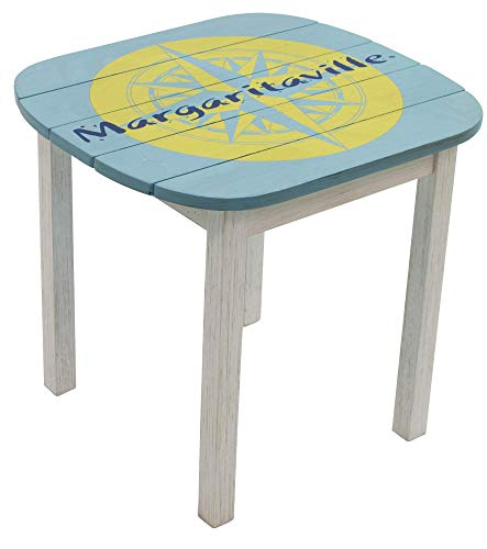 Margaritaville Outdoor Indoor Wood Adirondack Side Table, Nautical Compass