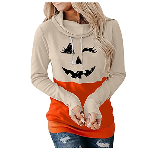 Aniywn Halloween Women Long Sleeve Pumpkin Face Hoodies Casual Soft Loose Cowl Neck Drawstring Pullover Hoodies Tops