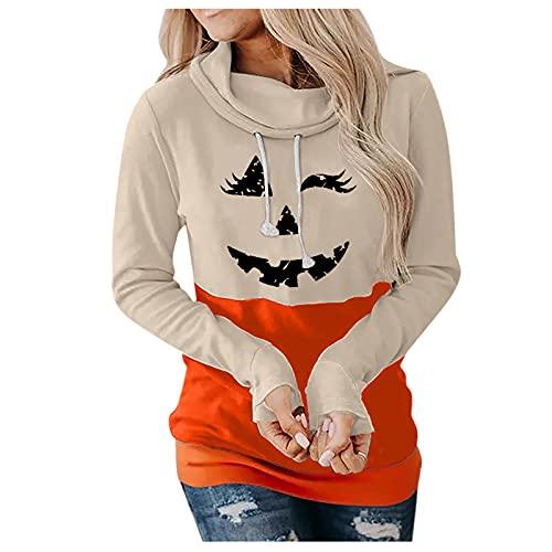 NISOWE Sudadera para mujer con cara de calabaza, disfraz sencillo, camiseta divertida, camiseta, blusa, caqui, S