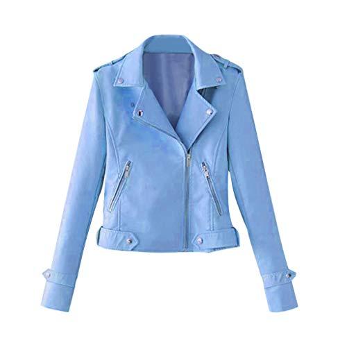 Mxjeeio Cazadora Mujer,Chaquetas para Mujer Moda Otoño Invierno Blazers Chaqueta con Cremallera Casual Cazadoras De Cortos De Cuero PU Chaqueta Biker sintético Punk Tops (Cielo Azul, XXL)