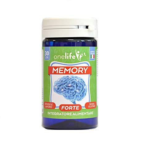 Memory Forte | Onelife | Integratore Alimentare per Concentrazione, Memoria, Studio e Lavoro, con Estratti di Eleuterococco, Rhodiola, Mirtillo e Vitamine del Gruppo B, 30 Capsule